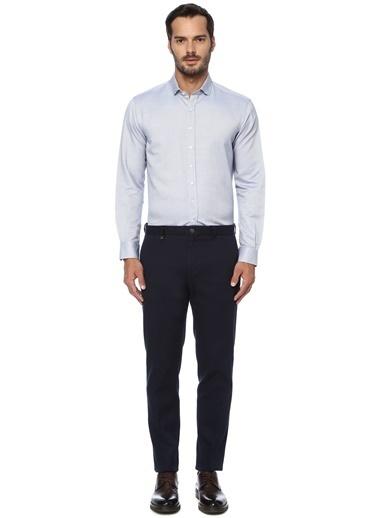 George Hogg George Hogg Italyan Yaka Uzun Kollu Slim Fit Jakarlı Erkek Gömlek Lacivert